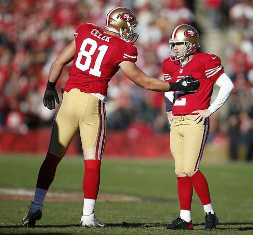 San Francisco 49ers kicker David Akers (2) is being consoled by tight end Garrett Celek (81) after missing a second field goal missing a field goal during the first half of his NFL football game against Arizona Cardinals at Candlestick Park in San Francisco, Calif. on Sunday, December 30, 2012. Photo: Stephen Lam, Special To The Chronicle