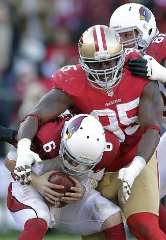 San Francisco 49ers defensive tackle Ricky Jean Francois (95) sacks Arizona Cardinals quarterback Brian Hoyer (6) during the third quarter of an NFL football game in San Francisco, Sunday, Dec. 30, 2012. (AP Photo/Tony Avelar) Photo: Tony Avelar, Associated Press