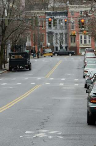 Bike lane on Lark Street in Albany, N.Y. Dec 17, 2012.  (Skip Dickstein/Times Union) Photo: Skip Dickstein / AL