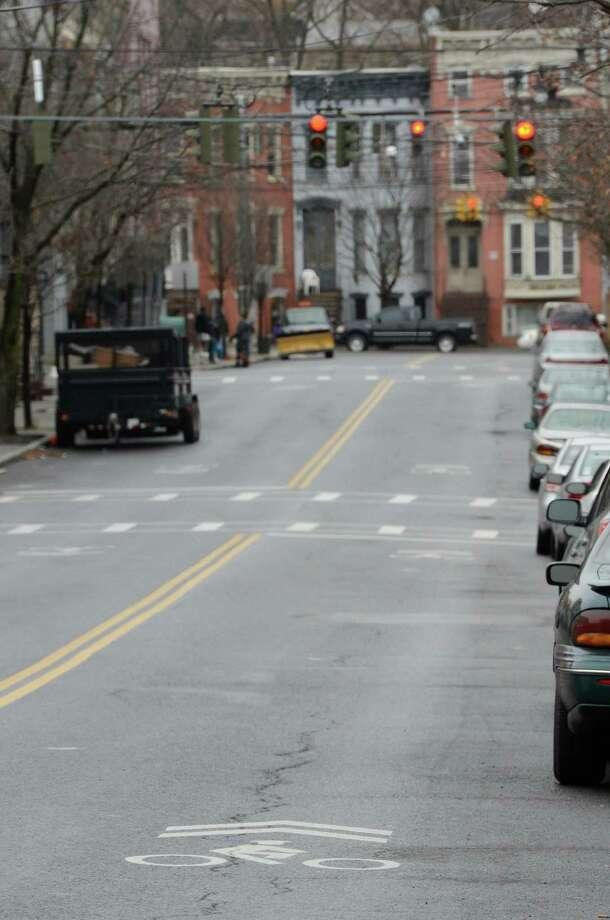 Bike lane on Lark Street in Albany, N.Y. Dec 17, 2012.  (Skip Dickstein/Times Union) Photo: Skip Dickstein
