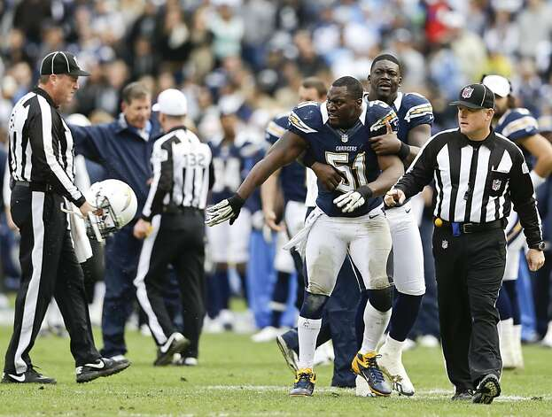 San Diego Chargers inside linebacker Takeo Spikes, left, throws his helmet as he is restrained by teammate Randy McMichael during the first half of an NFL football game against the Oakland Raiders Sunday, Dec. 30, 2012, in San Diego. Takeo had just been ejected from the game. (AP Photo/Lenny Ignelzi) Photo: Lenny Ignelzi, Associated Press