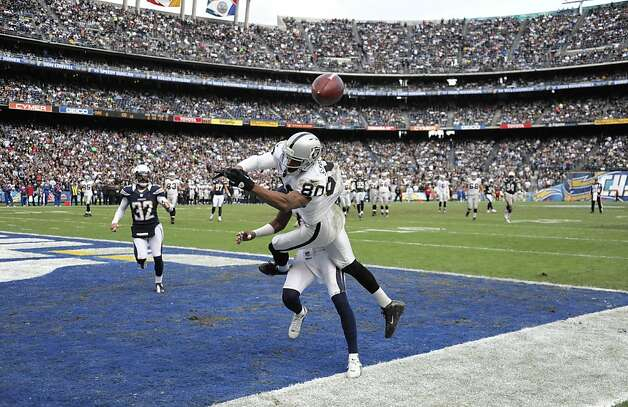 Oakland Raiders wide receiver Rod Streater, front, can't hold on to a pass in the end zone as San Diego Chargers cornerback Antoine Cason defends during the first half of an NFL football game Sunday, Dec. 30, 2012, in San Diego. (AP Photo/Denis Poroy) Photo: Denis Poroy, Associated Press