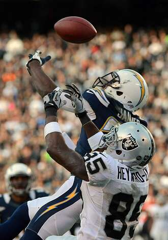 SAN DIEGO, CA - DECEMBER 30: Quentin Jammer #23 of the San Diego Chargers intercepts the ball from Darrius Heyward-Bey #85 of the Oakland Raiders on December 30, 2012 at Qualcomm Stadium in San Diego, California. (Photo by Donald Miralle/Getty Images) Photo: Donald Miralle, Getty Images