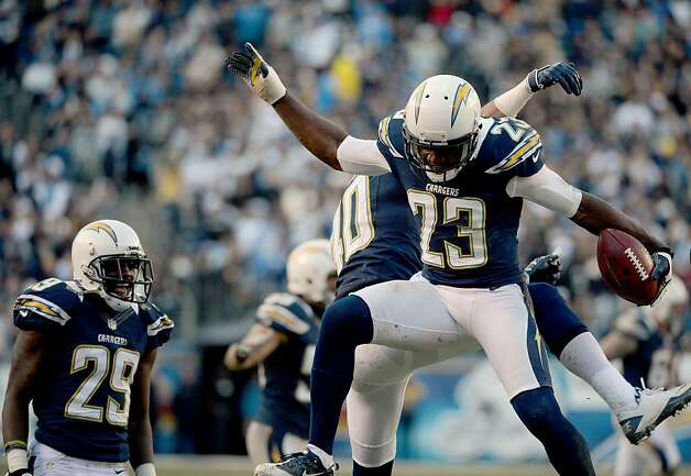 SAN DIEGO, CA - DECEMBER 30: Quentin Jammer #23 of the San Diego Chargers celebrates after catching an interception against the Oakland Raiders on December 30, 2012 at Qualcomm Stadium in San Diego, California. (Photo by Donald Miralle/Getty Images) Photo: Donald Miralle, Getty Images