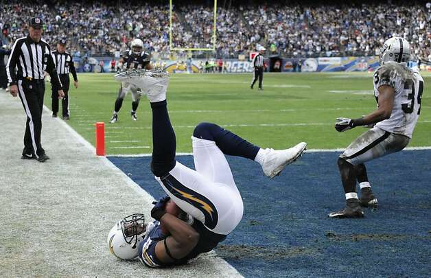 San Diego Chargers tight end Antonio Gates rolls after scoring a touchdown as Oakland Raiders strong safety Mike Mitchell, right, looks back during the first half of an NFL football game Sunday, Dec. 30, 2012, in San Diego. (AP Photo/Denis Poroy) Photo: Denis Poroy, Associated Press
