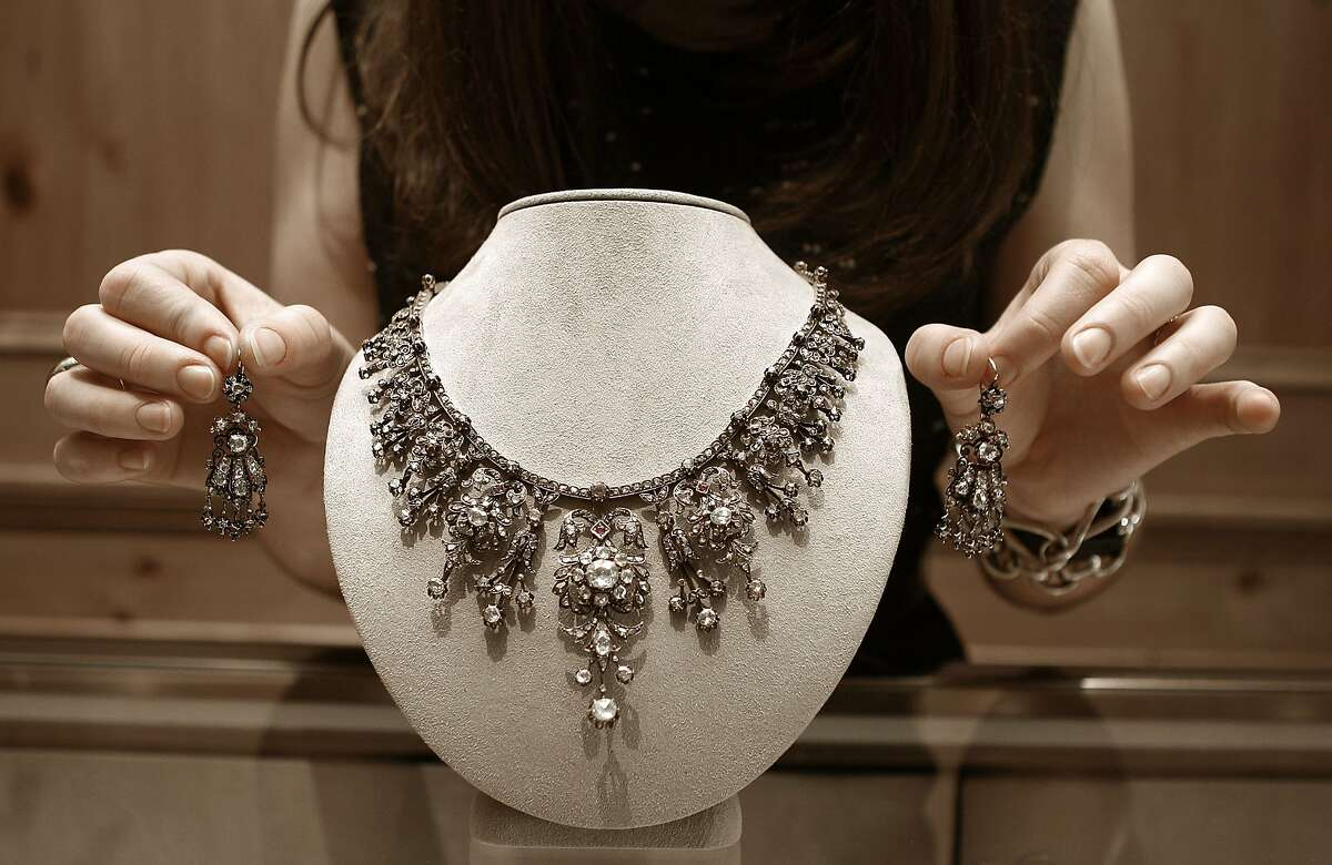 Victorian necklace that can convert into a tiara at Meriwether in San Francisco, California, on Wednesday, December 12, 2012.