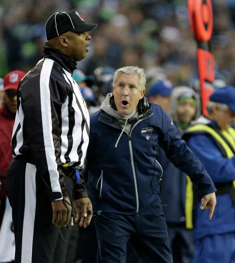 Seattle Seahawks head coach Pete Carroll on the sidelines against the St. Louis Rams in the second half of an NFL football game, Sunday in Seattle. Photo: AP Photo/Elaine Thompson
