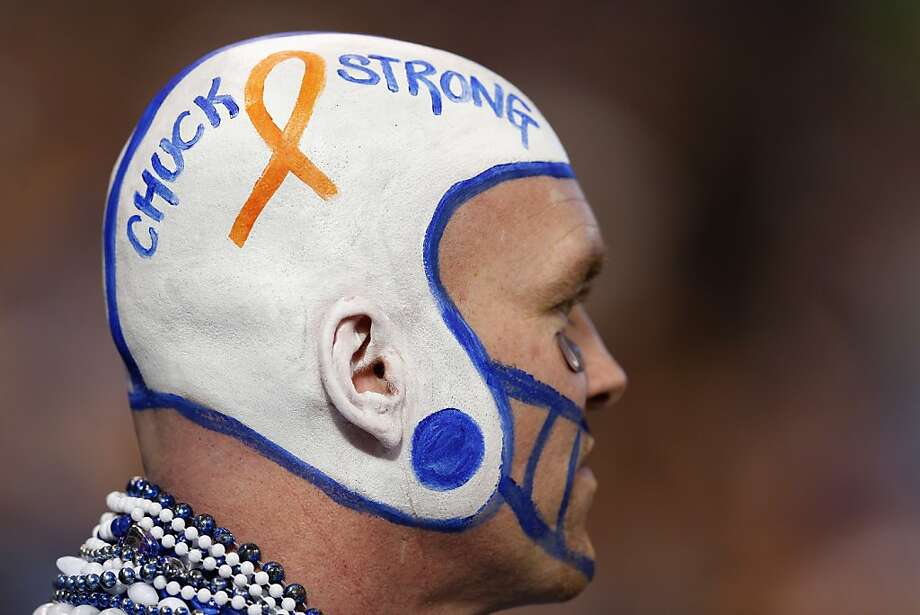 An Indianapolis Colts fan shows his support for head coach Chuck Pagano during the game against the Houston Texans at Lucas Oil Stadium on December 30, 2012 in Indianapolis, Indiana. Pagano has been sidelined on medical leave for three months with leukemia. (Photo by Joe Robbins/Getty Images) *** BESTPIX *** Photo: Joe Robbins, Getty Images