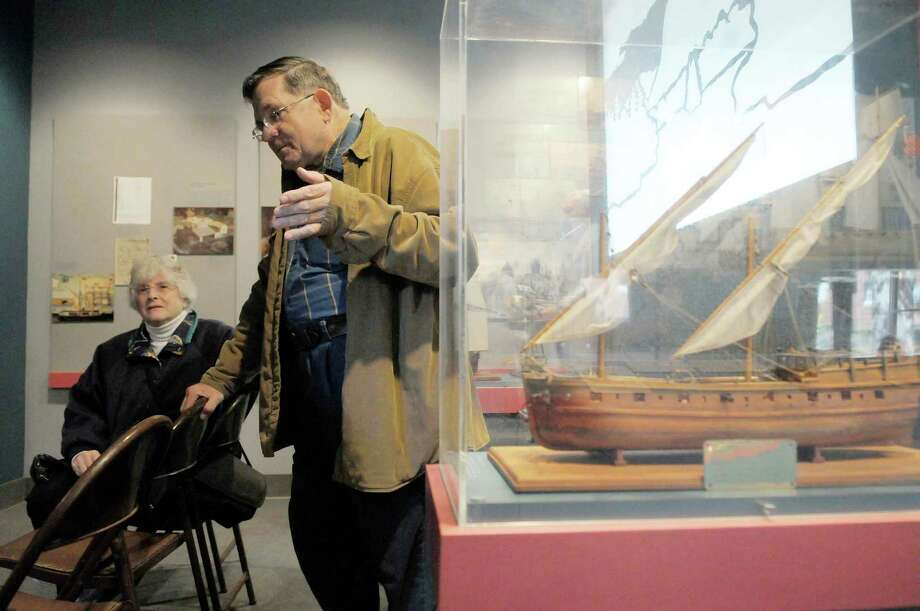Whitehall town historian Carol Senecal, left, and her husband, Wayne Senecal, talk about the birth of the U.S. Navy, during a interview  at the Skenesborough Museum in Whitehall, NY on Wednesday, Oct. 13, 2010.   Whitehall claims to be the birth of the U.S. Navy.   (Paul Buckowski / Times Union) Photo: Paul Buckowski / 00010631A