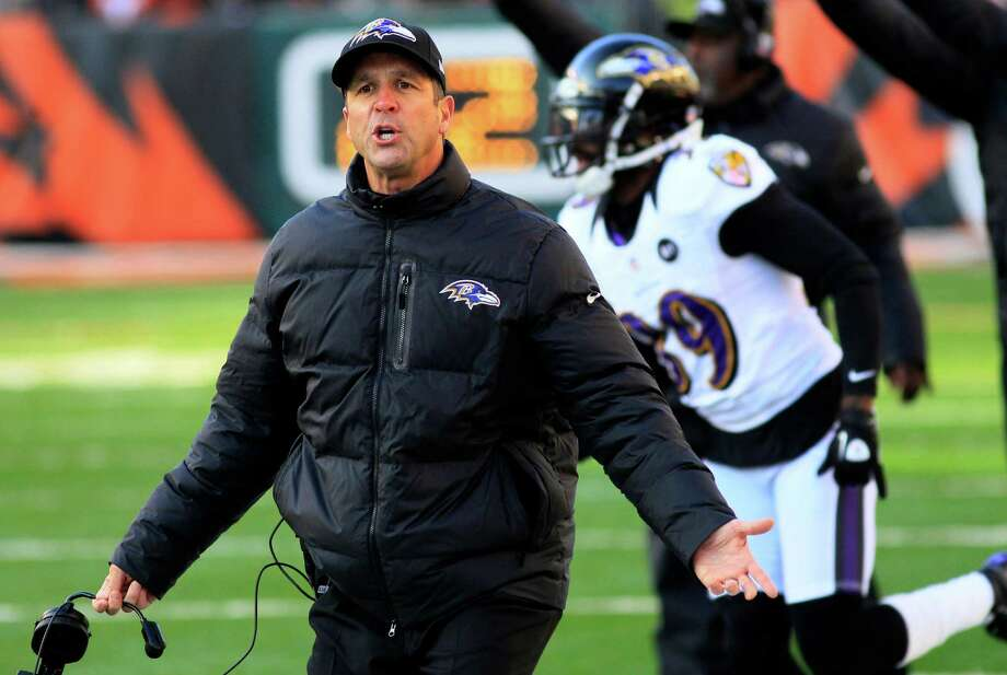 Baltimore Ravens head coach John Harbaugh reacts to a play in the second half of an NFL football game against the Cincinnati Bengals, Sunday, Dec. 30, 2012, in Cincinnati. (AP Photo/Tom Uhlman) Photo: Tom Uhlman