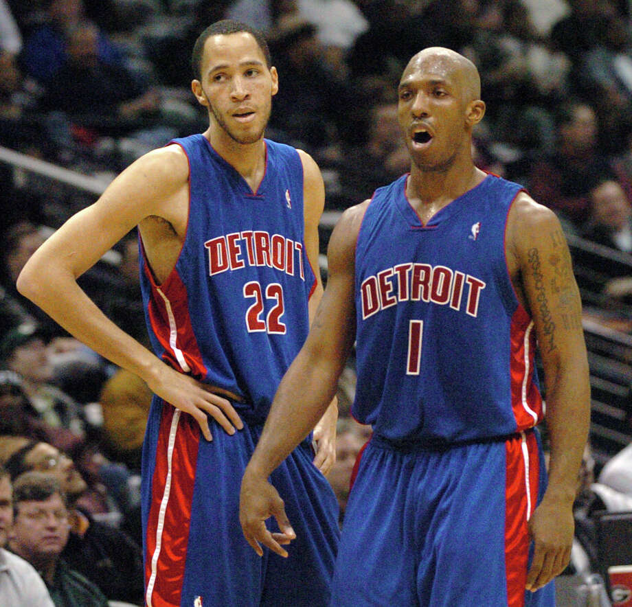 Detroit Pistons forward Tayshaun Prince (22) reacts to a third-quarter call with Pistons guard Chauncey Billups (1)  during an NBA basketball game against the Atlanta Hawks, Tuesday, Feb.  7, 2006, at Philips Arena in Atlanta. The Hawks won 99-98. (AP Photo/Gregory Smith).  USED AS MUG. Photo: GREGORY SMITH, STR / AP