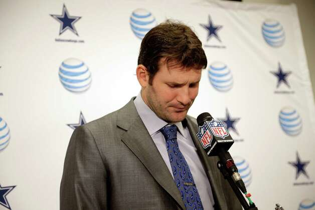 Dallas Cowboys quarterback Tony Romo (9) pauses during a media availability after an NFL football game against the Washington Redskins Monday, Dec. 31, 2012, in Landover, Md. The Redskins won 28-18, securing a playoff berth. (AP Photo/Evan Vucci) Photo: Evan Vucci, Associated Press / AP