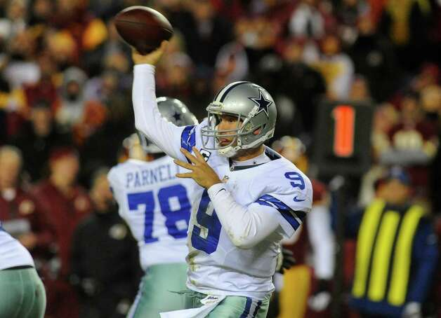 Dallas Cowboys quarterback Tony Romo (9) throws during the first half of an NFL football game against the Washington Redskins Sunday, Dec. 30, 2012, in Landover, Md. (AP Photo/Richard Lipski) Photo: Richard Lipski, Associated Press / FR170623 AP