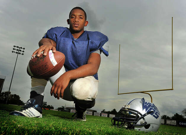 After losing close-friend Reggie Garrett, West Orange-Stark's Jhayllien Monette's life spiraled him away from football. Finding motivation through friends and the desire for higher education, Monette rejoined the team and is now on a path towards college. Photo taken Tuesday, October 16, 2012 Guiseppe Barranco/The Enterprise Photo: Guiseppe Barranco, STAFF PHOTOGRAPHER / The Beaumont Enterprise
