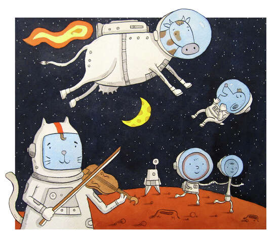 "Mike Herrod's ""Cat and Fiddle in Space,"" is among the works at ""Mother Goose Reimagined"" exhibition at the Flinn Gallery in Greenwich, Conn. Members of the New York City-based Children's Book Illustrator Group took on classic nursery rhymes in varied fashions. The show will run through Jan. 16, 2013. Photo: Contributed Photo"