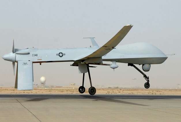 An MQ-1 Predator unmanned aircraft takes off for service in southwest Asia. When drones kill enemy combatants or terrorists, we feel safer. When they kill Americans, we deserve answers. Photo: Julianne Showalter, Getty Images / AFP