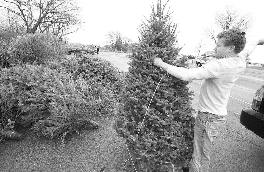 The Town of Greenwich is offering Christmas tree recycling at several spots across town. Here, Chris O'Donnell recycles his Christmas tree last year at Greenwich Point. Photo: File Photo / Greenwich Citizen