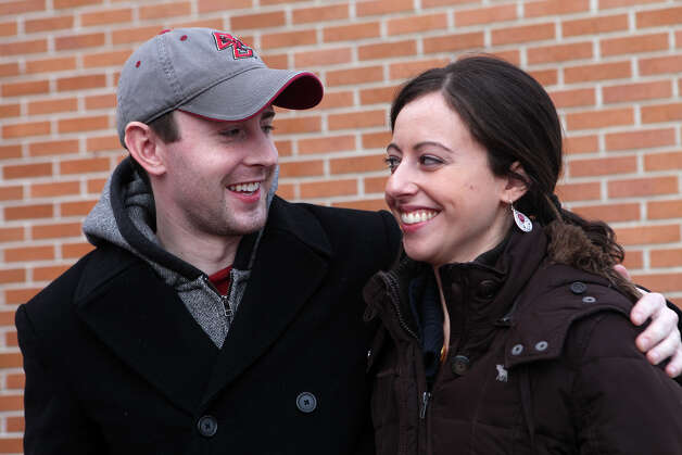 Newly engaged Tim Ramsey, of Southbury, and Katie Weidlien, of MA, go to get a ring sized in downtown Fairfield, Conn. on Monday, December 31 , 2012. Photo: BK Angeletti, B.K. Angeletti / Connecticut Post freelance B.K. Angeletti