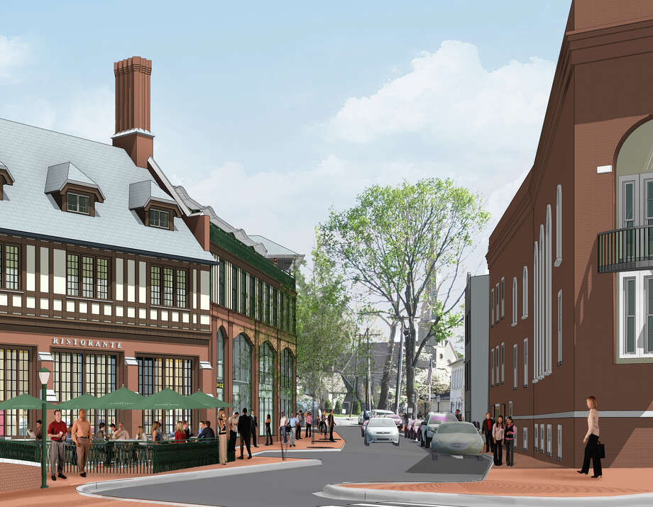 A year from now, will this downtown developer's view of Church Lane be any closer to reality? Where will the mix of shops on Main Street be headed? Photo: Contributed Photo / Westport News contributed