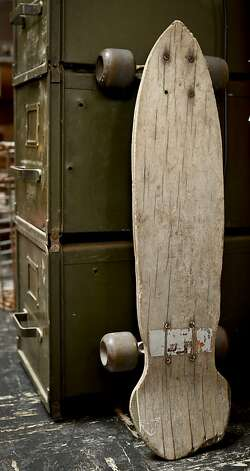 An old skateboard leans on a file cabinet on Friday, Oct. 19, 2012 in Mixed Nuts in San Francisco, Calif. Photo: Russell Yip, The Chronicle
