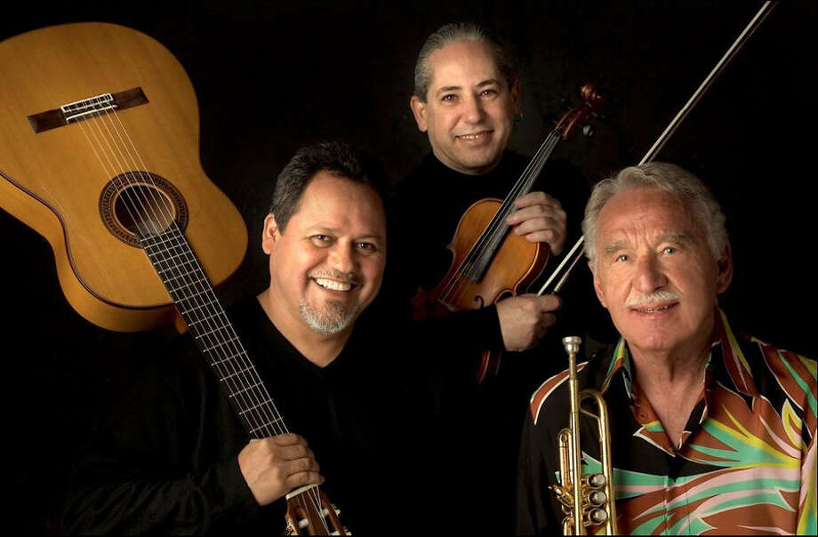 Doc Severinsen (right) with Gil Gutierrez, left and Pedro Cartas. Photo: COURTESY PHOTO