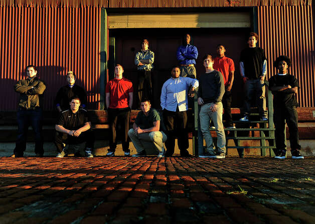 From left, Seth Adams, Montana Quirante, Brock Pryor, Koby Couron, Kaleb Clark, Korbin Stampley, Matthew Romar, Tony Brown, Colton Kimler, Joe Lynch, J'Marcus Rhodes, Quinton Tezeno                 Photo taken Monday, December 17, 2012 Guiseppe Barranco/The Enterprise Photo: Guiseppe Barranco, STAFF PHOTOGRAPHER / The Beaumont Enterprise