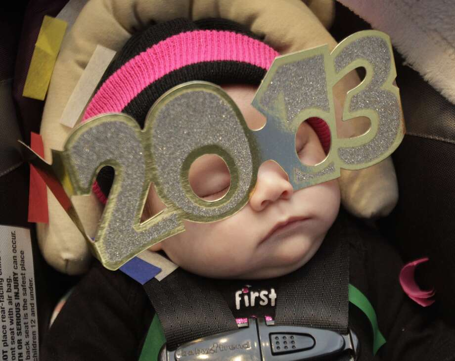New Year's celebrations for kids at the Children's Museum of Houston are apparently too much for 2-month-old Kadalina Noel Yip  Choy. Young Houstonians got a jump on 2013 by doing their own countdown at noon Monday.