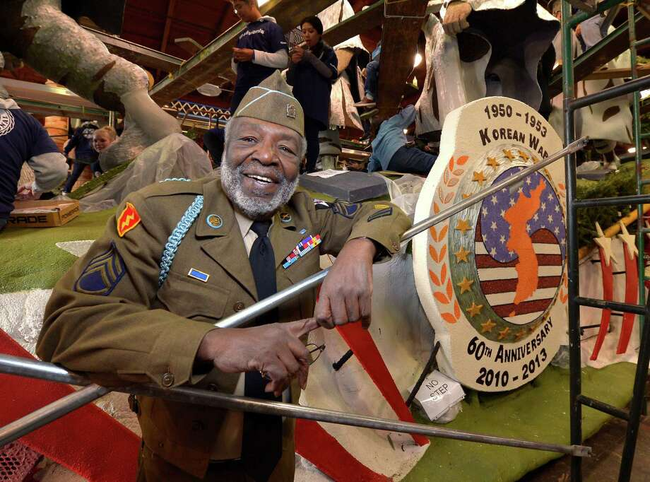 """Korean War veteran James McEachin, 82,  will ride in the Rose Parade float """"Freedom Is Not Free,"""" by the Korean War Commemoration Committee, on Tuesday. Photo: Mark J. Terrill, STF / AP"""