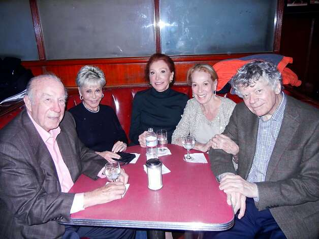 George Shultz (left), Jo Schuman Silver, Ann Getty, Charlotte Shultz and Gordon Getty attend Michael Tilson Thomas' birthday fete at Tosca Cafe. Photo: Catherine Bigelow, Special To The Chronicle
