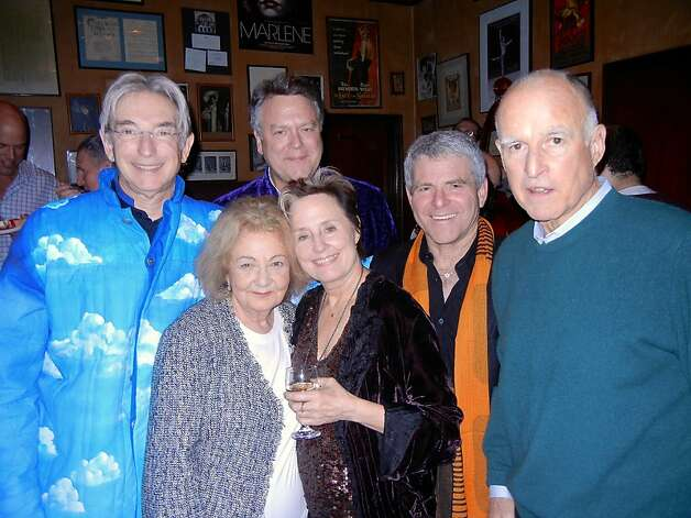 Michael Tilson Thomas (left) celebrates his birthday with Jeannette Etheredge, Nion McEvoy, Alice Waters, Joshua Robison and Gov. Jerry Brown at Tosca Cafe. Photo: Catherine Bigelow, Special To The Chronicle