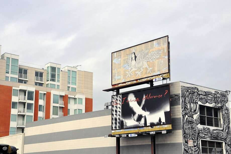 "Billboards by artists Uzi Broshi and Ala Ebtekar on display at Brannan and Fourth streets are part of SOMArts Cultural Center's wide-ranging ""Speak Your Peace"" group exhibition. Photo: Courtesy Of The Gallery"