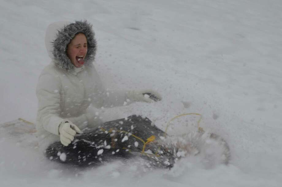 Cassidy Bayer of Alexandria, Virginia sleds at Wolferts Roost on Thursday Paul Cole