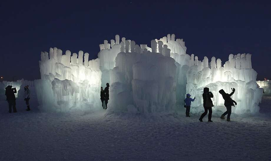 "Organic ice: Before shopping at the Mall of America in Bloomington, Minn., visit its 20-foot-high ice castle. Builder Brent Christensen says the icicles are ""organically grown."" Just add water - 4 million gallons. Photo: Chris Polydoroff, Associated Press"