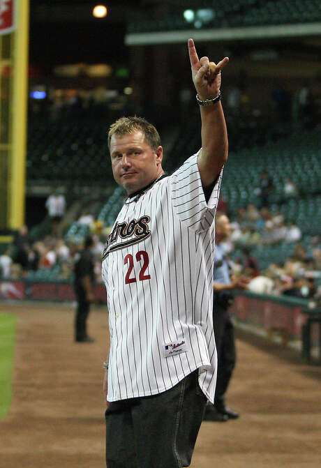 Roger Clemens waves to the fans during the Astros 50th Anniversary ceremony before the start of an MLB baseball game at Minute Maid Park on Saturday, Sept. 22, 2012, in Houston.  ( Karen Warren / Houston Chronicle ) Photo: Karen Warren, Staff / © 2012  Houston Chronicle