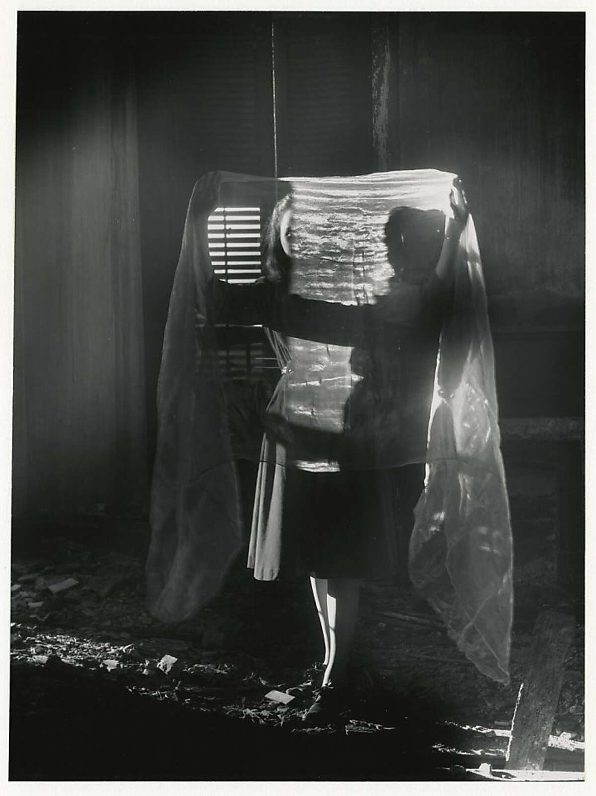 """""""Dislocation of a Figure"""" (1941, printed 1970s) gelatin silver print by Clarence John Laughlin 13.6"""" x 10.15"""""""