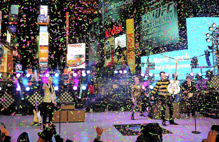 Neon Trees perform during New Year's Eve celebrations in Times Square in New York, December, 31, 201