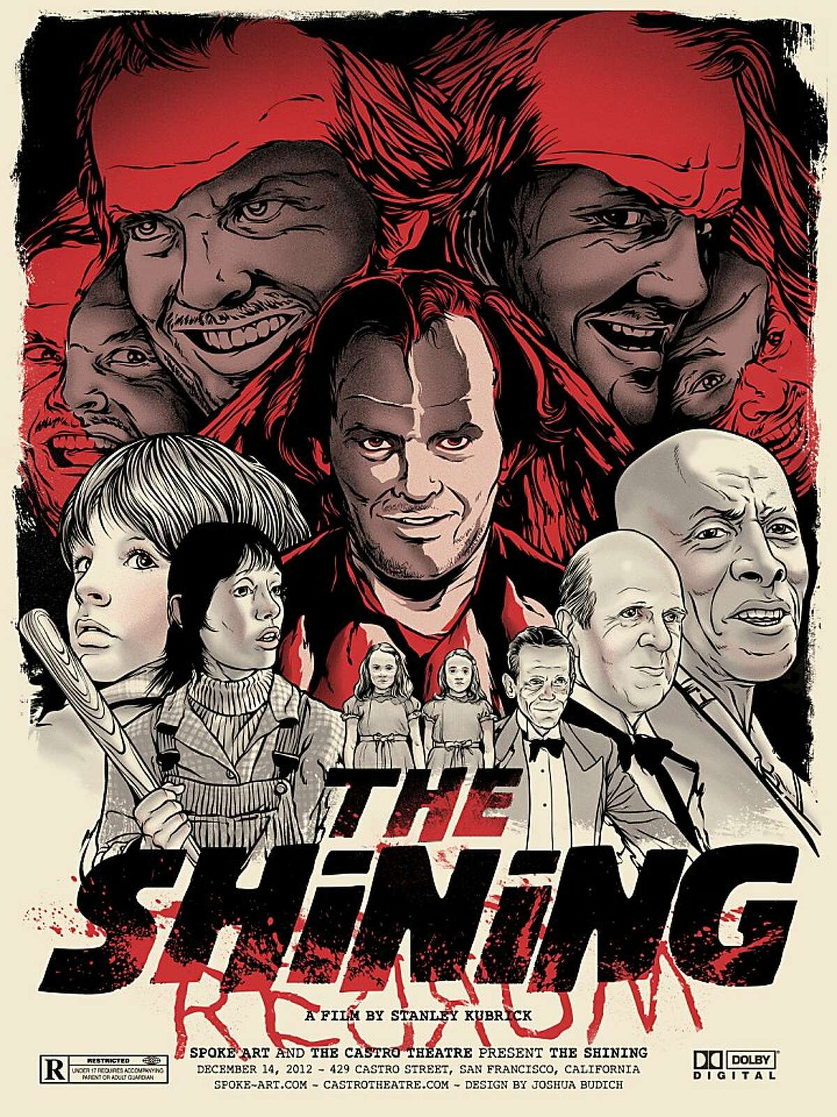 An illustrated poster of The Shining by illustrator Joshua Budich who's work were shown at Spoke Art.