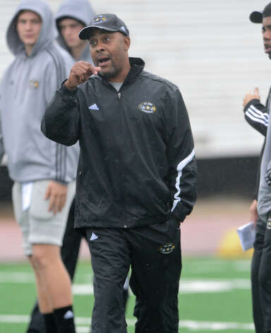 U.S. Army All-American Bowl West Team head coach Mike Jinks directs players during a U.S. Army All-American Bowl West Team practice at Comalander Stadium, Monday, December 31, 2012. 