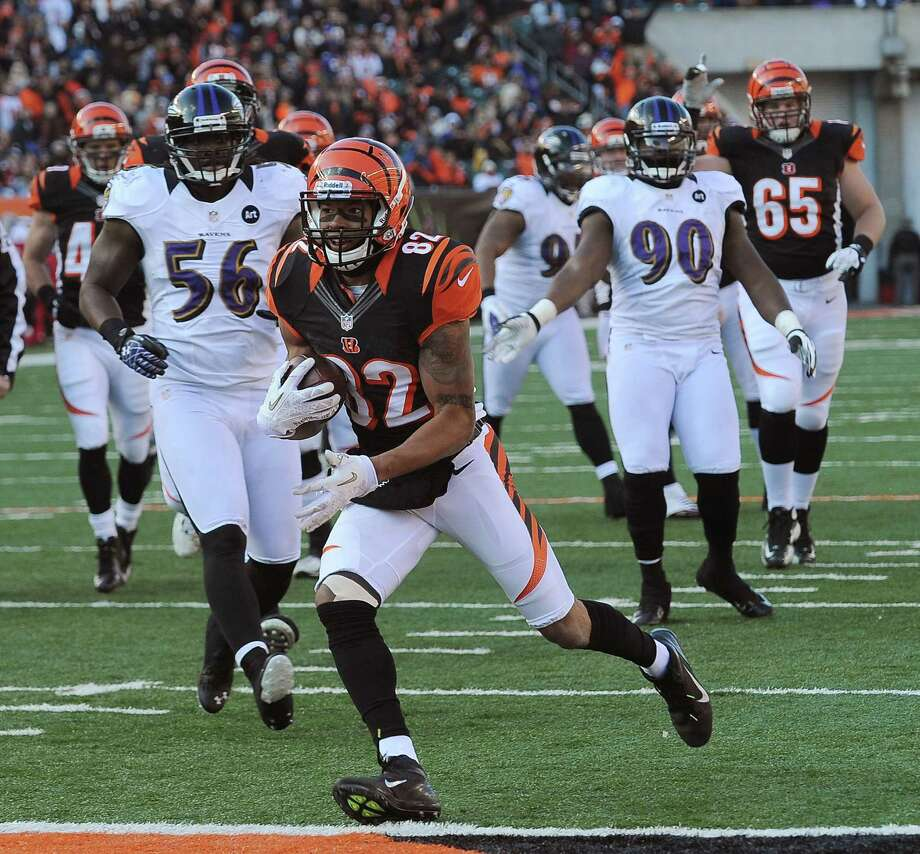 Cincinnati Bengals' Marvin Jones scores in the 2nd quarter against the Baltimore Ravens at Paul Brown Stadium on Sunday, December 30, 2012, in Cincinnati, Ohio. The Cincinnati Bengals defeated the Baltimore Ravens, 23-17. (Gene Sweeney Jr./Baltimore Sun/MCT) Photo: Gene Sweeney Jr., MBR / Baltimore Sun