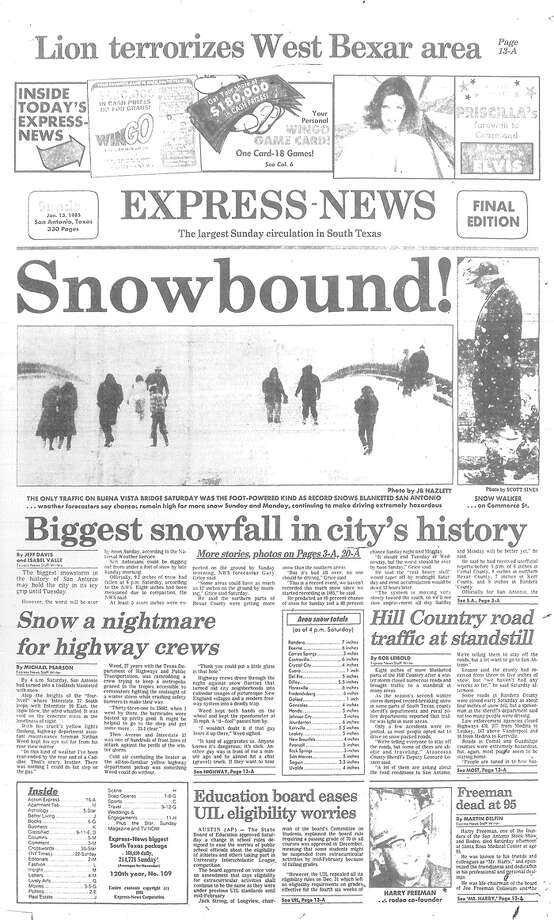 """Snowbound!"" declared the Jan. 13, 1985 cover of the San Antonio Express-News. Photo: User: Windows NT/95/98 User, San Antonio Express-News Archives"