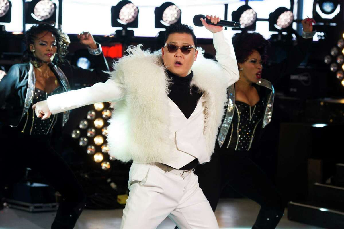 Psy performs in Times Square during New Year's Eve celebrations in New York.