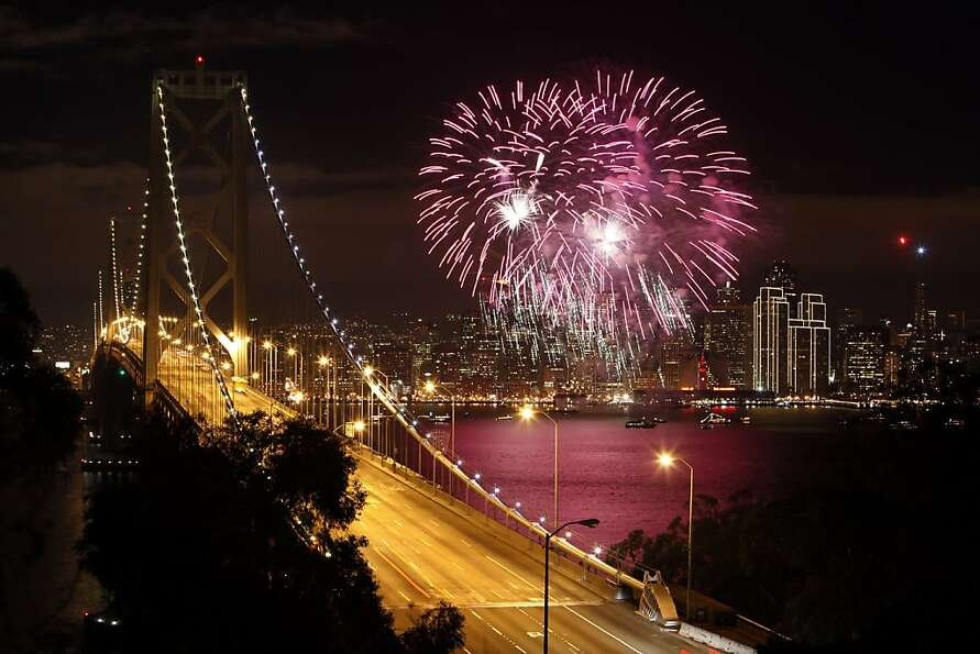 Fireworks light up San Francisco Bay as the west coast city rings in the New Year 2013. The Embarcad