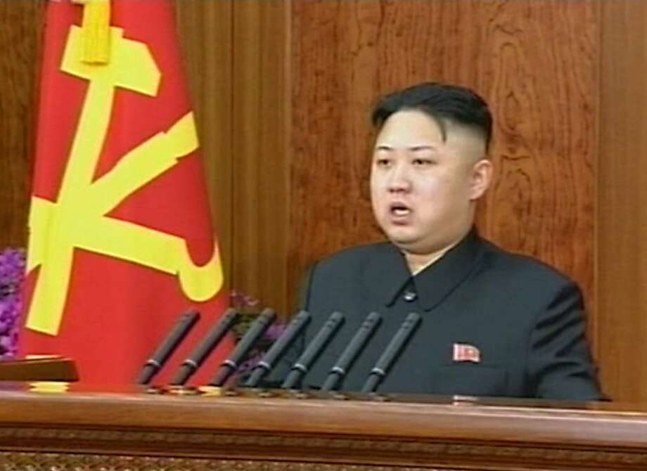"""This screen grab taken from North Korean TV on January 1, 2013 shows North Korea's young leader Kim Jong-Un delivering a rare New Year's address in Pyongyang. Kim called for a """"radical turnabout"""" in the impoverished country's economy and also urged improved relations with South Korea. Photo: North Korean Tv, AFP/Getty Images"""
