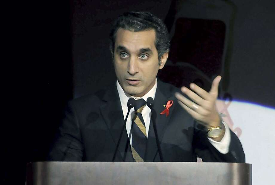 "Egyptian TV host Bassem Youssef models his program after ""The Daily Show."" Photo: Ahmed Omar, Associated Press"