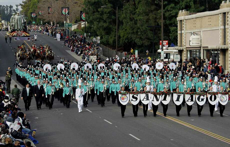 The BOSS, Bands of Santiago Sharks, from Santiago High School in Corona, Calif., marches in the 124th Rose Parade in Pasadena, Calif., Tuesday, Jan. 1, 2013.  (AP Photo/Reed Saxon) Photo: Reed Saxon, Associated Press / AP