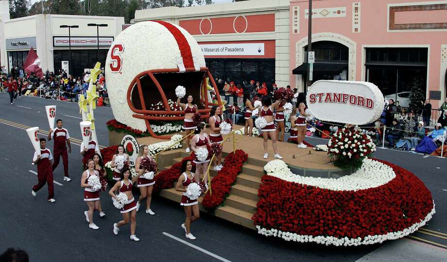 The float carrying the spirit squad for Stanford University, which will face Wisconsin in the Rose Bowl football game, is seen in the 124th Rose Parade in Pasadena, Calif., Tuesday, Jan. 1, 2013.  (AP Photo/Reed Saxon) Photo: Reed Saxon, Associated Press / AP