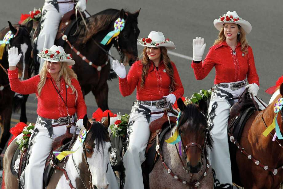 Members of the Norco Cowgirls Rodeo Drill Team ride their horses in the 124th Rose Parade in Pasadena, Calif., Tuesday, Jan. 1, 2013. (AP Photo/Patrick T. Fallon) Photo: Patrick T. Fallon, Associated Press / FR160581 AP