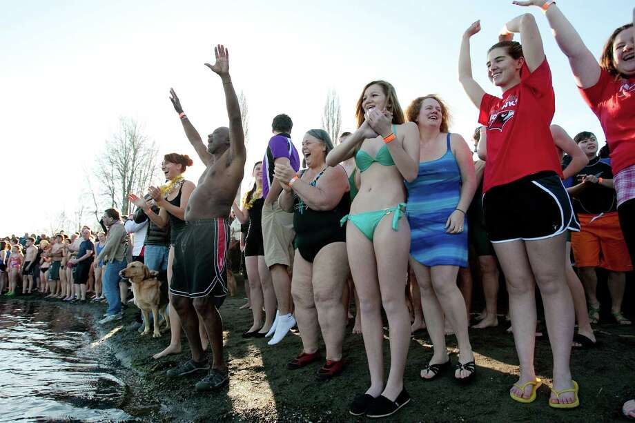 Revelers countdown for a dip into the chilly water of Lake Washington during the 11th annual Polar Bear Plunge at Matthews Beach. Photo: JOSHUA TRUJILLO / SEATTLEPI.COM