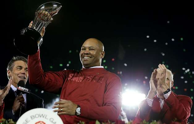 PASADENA, CA - JANUARY 01:  Head coach David Shaw of the Stanford Cardinal celebrates after the Cardinal defeat the Wisconsin Badgers 20-14 in the 99th Rose Bowl Game Presented by Vizio on January 1, 2013 at the Rose Bowl in Pasadena, California.  (Photo by Jeff Gross/Getty Images) Photo: Jeff Gross, Getty Images