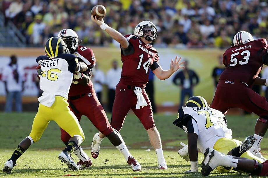 Connor Shaw was one of two South Carolina quarterbacks who helped the Gamecocks trim Michigan in the Outback Bowl. Photo: Chris O'Meara, Associated Press